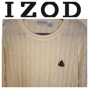 Men's IZOD Cream Crew Neck Cotton Sweater. Medium